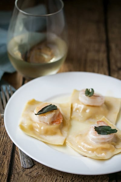 Fresh Butternut Squash Ravioli with Prawns, Fried Sage and Truffle Oil Sauce