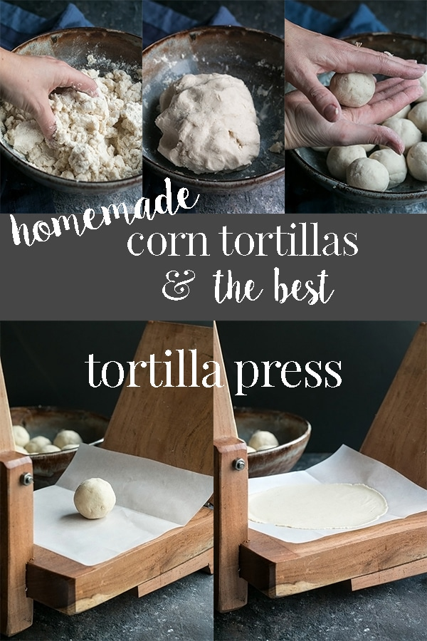 Homemade tortillas that are naturally gluten free, simple to make and only require 3 ingredients.  These corn tortillas are made with masa harina flour, mixed by hand in just a few mins, and pressed in an authentic wooden tortilla press.  They are soft, pliable, and taste amazing! #cookswithcocktails #homemadetortillas #corntortillas #tortillapress