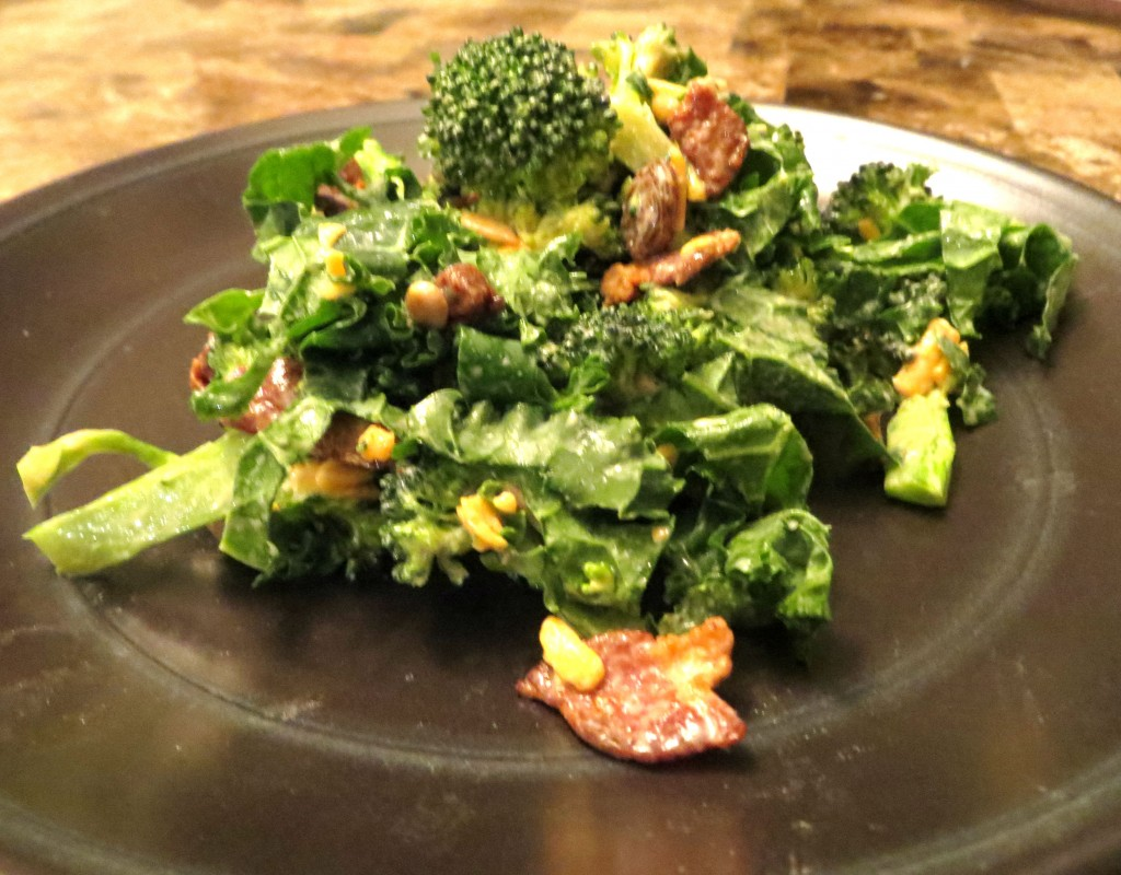 Broccoli and Kale Salad with Bacon and Cranberries