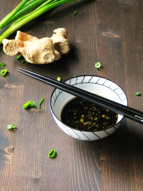 gyoza dipping sauce with soy sauce, green onions, garlic, ginger, and chili's