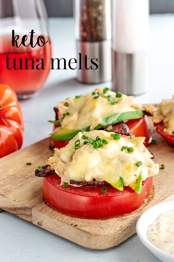 This keto tuna melt recipe uses tomatoes as the