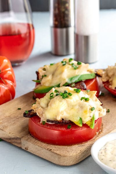 Keto Tuna Melt Recipe on Tomato Halves ~ Low Carb Comfort Food