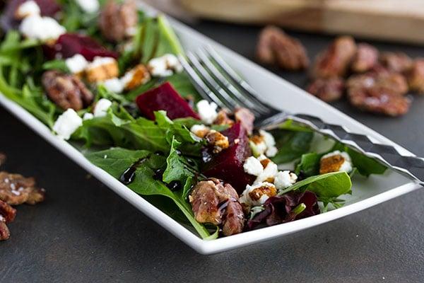 close up shot of a pickled beet salad