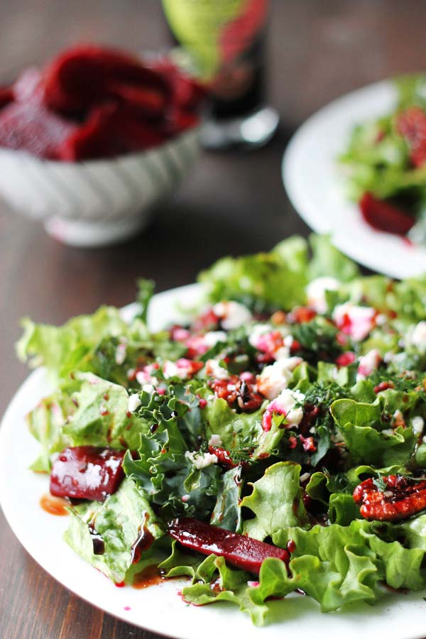 Pickled Beet Salad with Goat Cheese and Maple Roasted Pecans