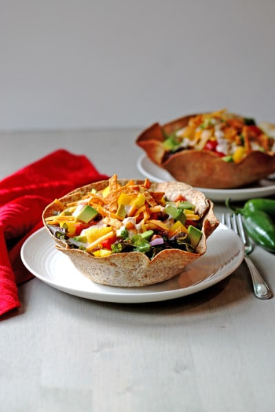 Turkey Taco Salad with Chipotle Chili Dressing