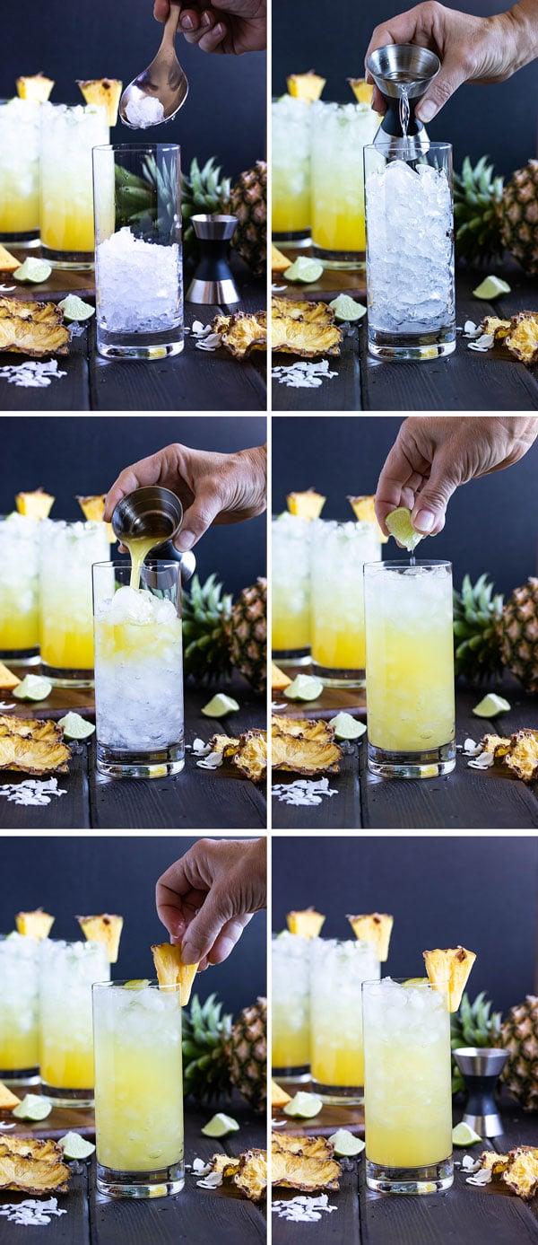 pictures showing how to make the pineapple coconut rum drinks