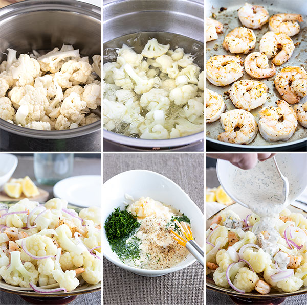 process shots showing how to make the cauliflower salad