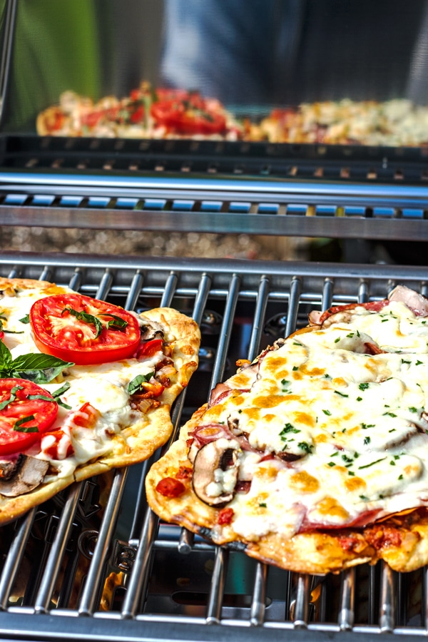 Camping Food Grilled Pizza With Homemade Garlic Tomato Sauce