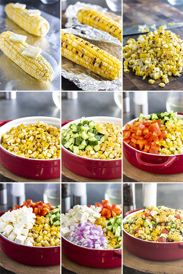 photos of each step in the process to make corn salad