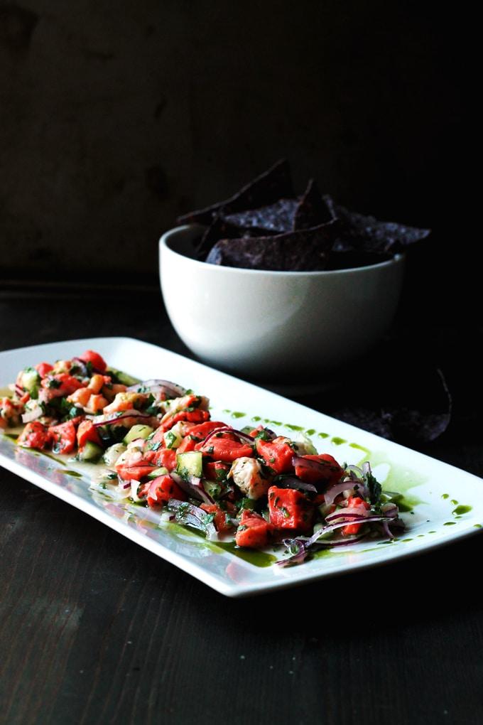 Salmon and Prawn Ceviche