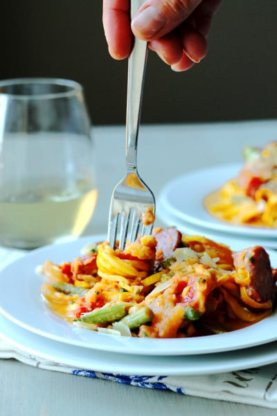 Zoodles with Cauliflower Rosé Sauce and Farmer Sausage