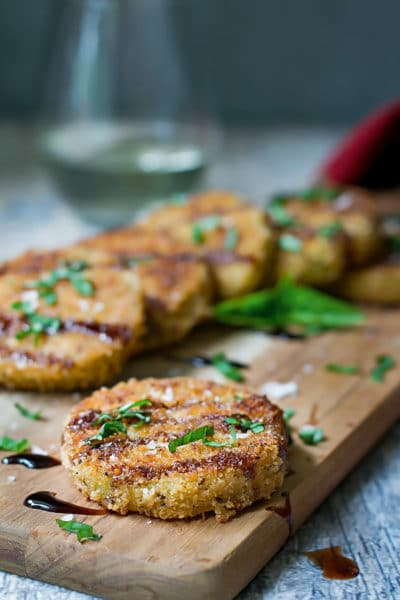 Fried Green Tomatoes Recipe with Basil and Balsamic