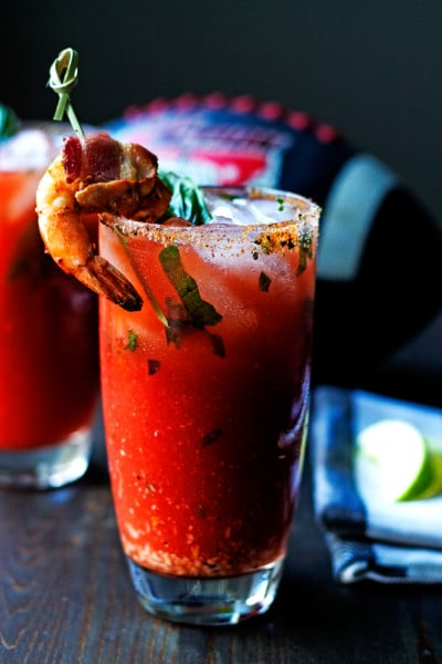 Rum Caesar with Basil, Roasted Garlic and a Bacon Wrapped Prawn