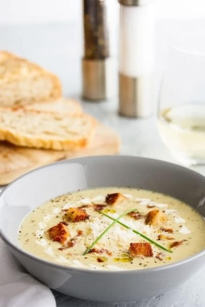 Broccoli and Cauliflower Soup with Homemade Croutons ~ Cheesy and Creamy without the Cream
