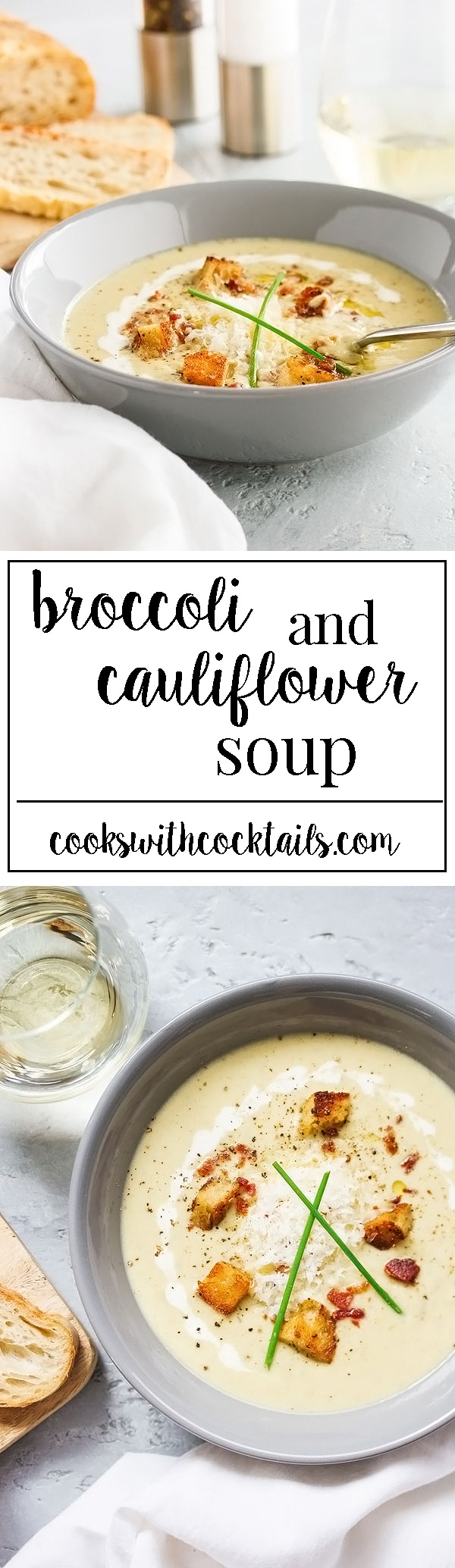 This broccoli and cauliflower soup is a creamy and cheesy soup thats packed full of nutrition and flavor. Low carb comfort food that's quick and easy recipe for a weeknight meal. The homemade croutonsare out of this world amazing and are easy to make. We will show you how. #broccolisoup #cauliflowersoup #vegetablesoup #creamysoup #homemade #souprecipes