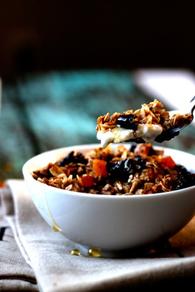 Clean and Healthy Maple Granola with Dried Fruit, Chia and Hemp Seeds