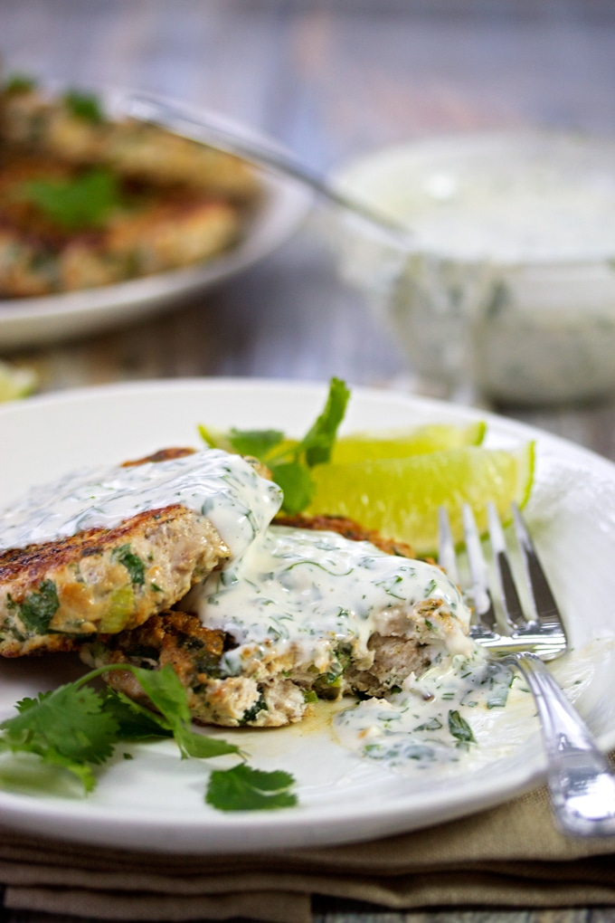 Taking a bite out of the Cilantro Turkey Burgers with Cilantro Lime Sauce