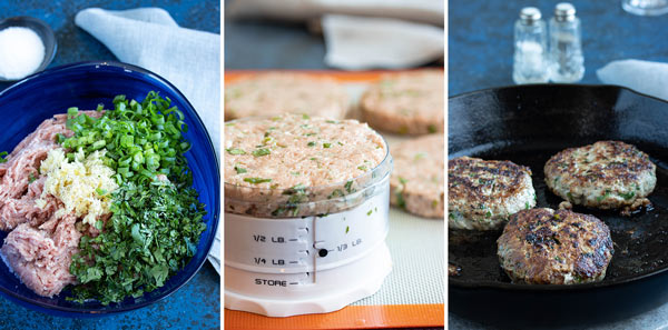 process pictures showing how to make turkey burgers