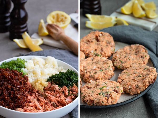pictures of the ingredients in the salmon patties before mixing and the salmon patties after they are formed.