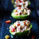 Pineapple and Prawn Salsa on Avocados with Cashew Cream Sauce