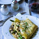 Gluten Free Crepes with Chicken, Asparagus, Mushrooms and Gruyere