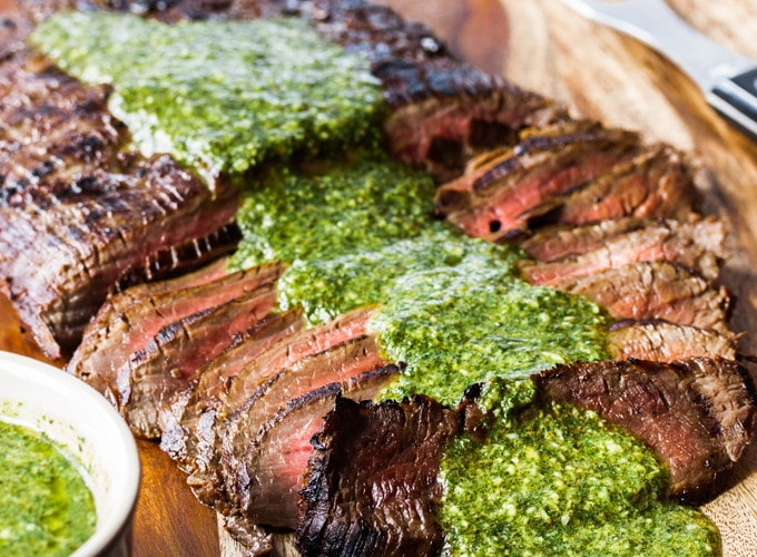 Grilled Flank Steak with Chimichuri Sauce ~ Serve Steak on a Budget