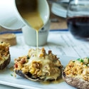 Stuffed Portobello Mushrooms with a Wine & Maille Mustard Sauce || Win a Trip to France