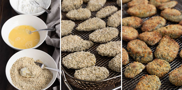 process pictures showing how to make oven fried pickles