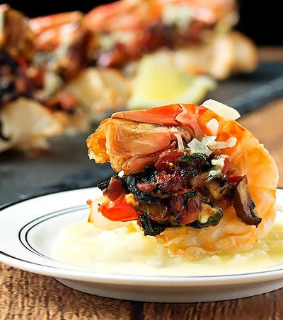 Bacon, Mushroom & Tomato Stuffed Scampi with a White Wine Sauce