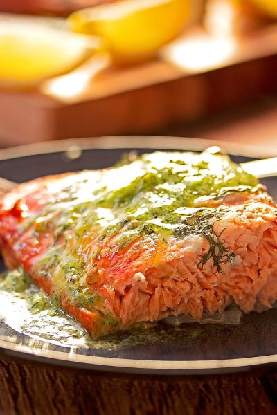 Maple Plank BBQ Salmon with Roasted Garlic, Lemon & Dill Butter