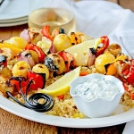 Greek Chicken & Vegetable Skewers with Easy Rice Pilaf