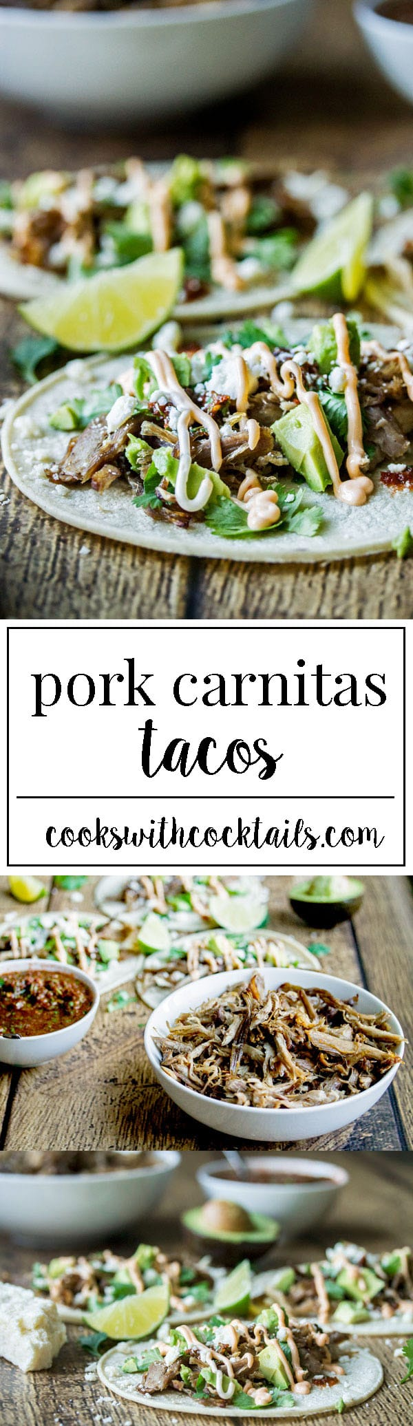 carnitas tacos with sweet and spicy shredded pork with crispy bits on the edges, fresh and fiery tomato salsa, creamy avocado, salty cojita cheese, and fragrant cilantro all topped off with spicy mayo and lime. #porktacos #carnitas #tacorecipe #streetfood