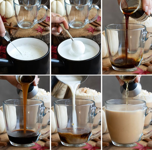 pictures showing the process of how to make a pumpkin spiced latte