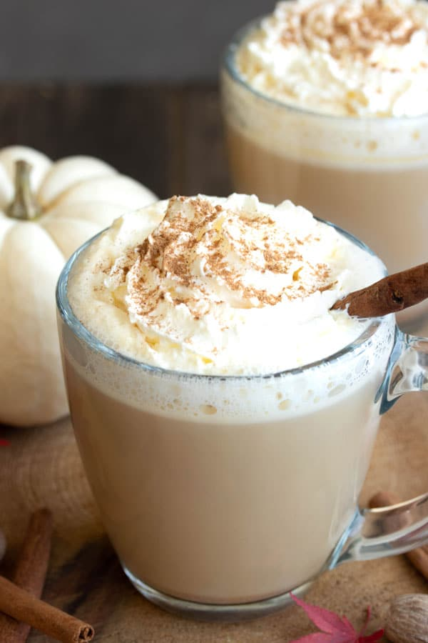 a pumpkin spiced latte with whipped cream on top and cinnamon sprinkled.  A white pumpkin behind it.