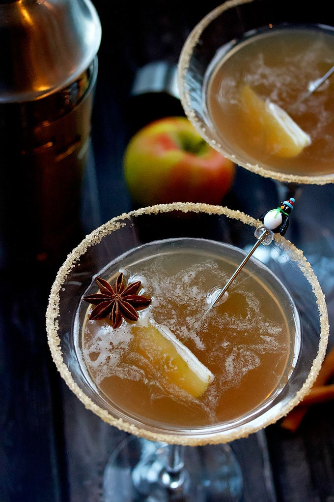 Top View of an Apple Cider Martini