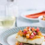 Panfried Halibut with Grapefruit & Mango Salsa