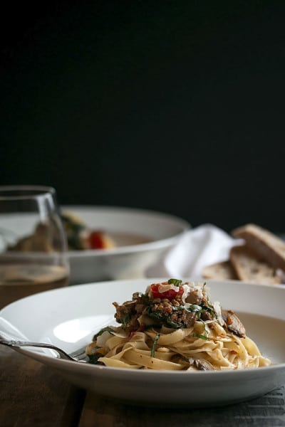 Fettuccine Pasta with Sausage, Spinach and Wine