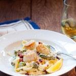 Asparagus & Meyer Lemon Pasta Fonduta with Pan Fried Scallops