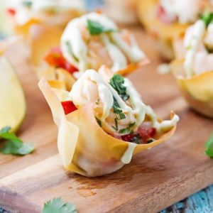 Tequila Shrimp Wonton Tacos with Avocado Cream