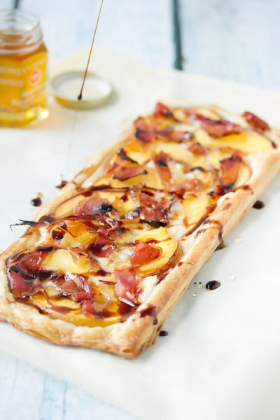 Peach Puff Pastry Tart with Prosciutto & Brie ~ Simple and Amazing