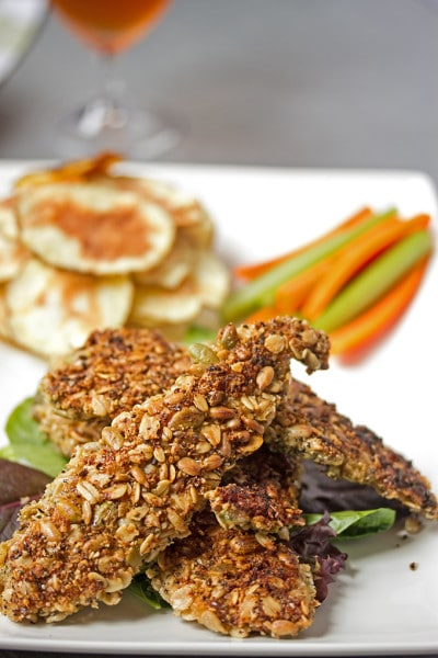 Oven Baked Chicken Tenders with a Healthy Seed Crust