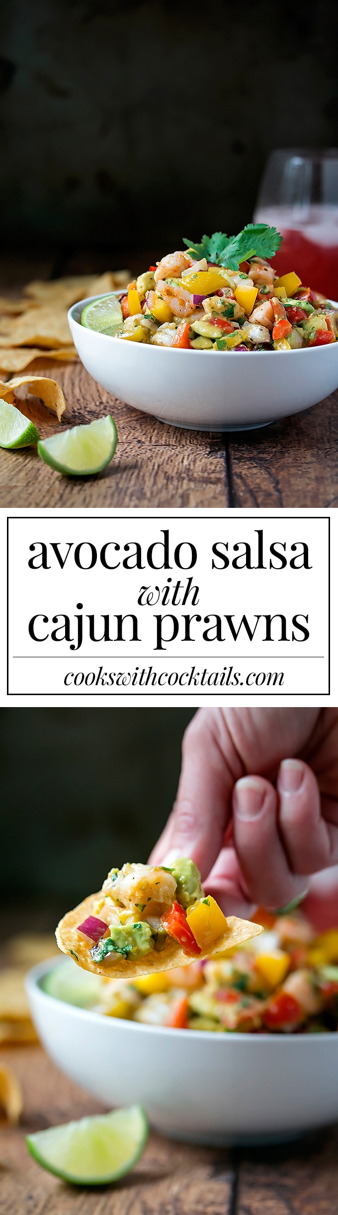Avocado Salsa with Cajun Prawns