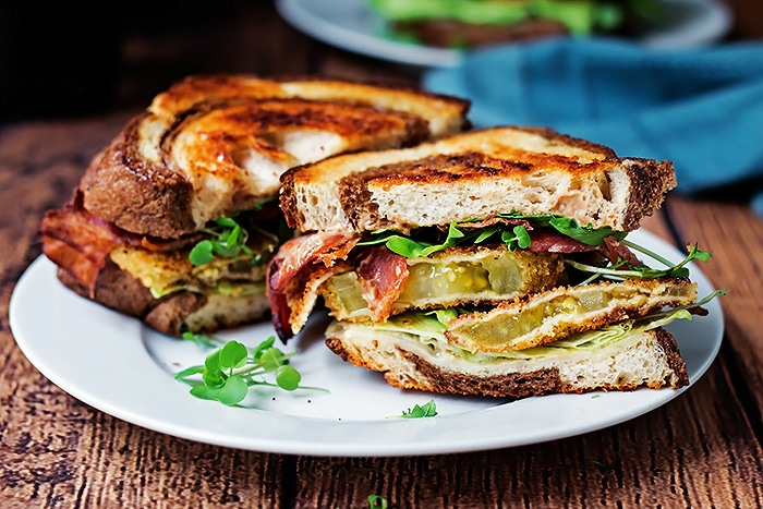 sliced Fried Green Tomato BLT ready to eat