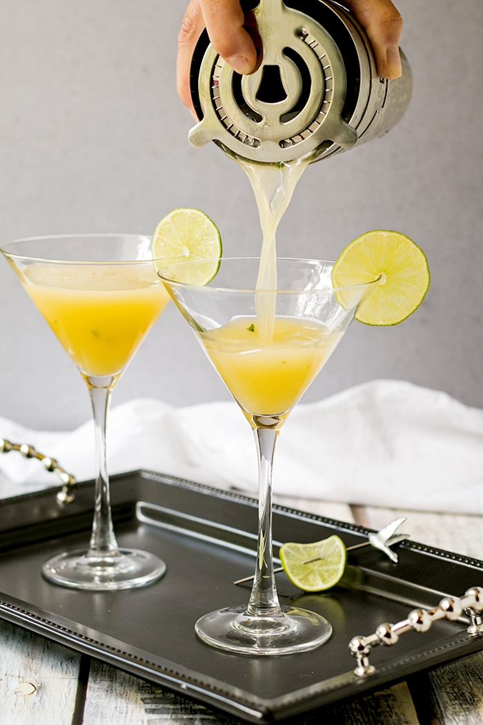 Pouring a Passion Fruit Martini