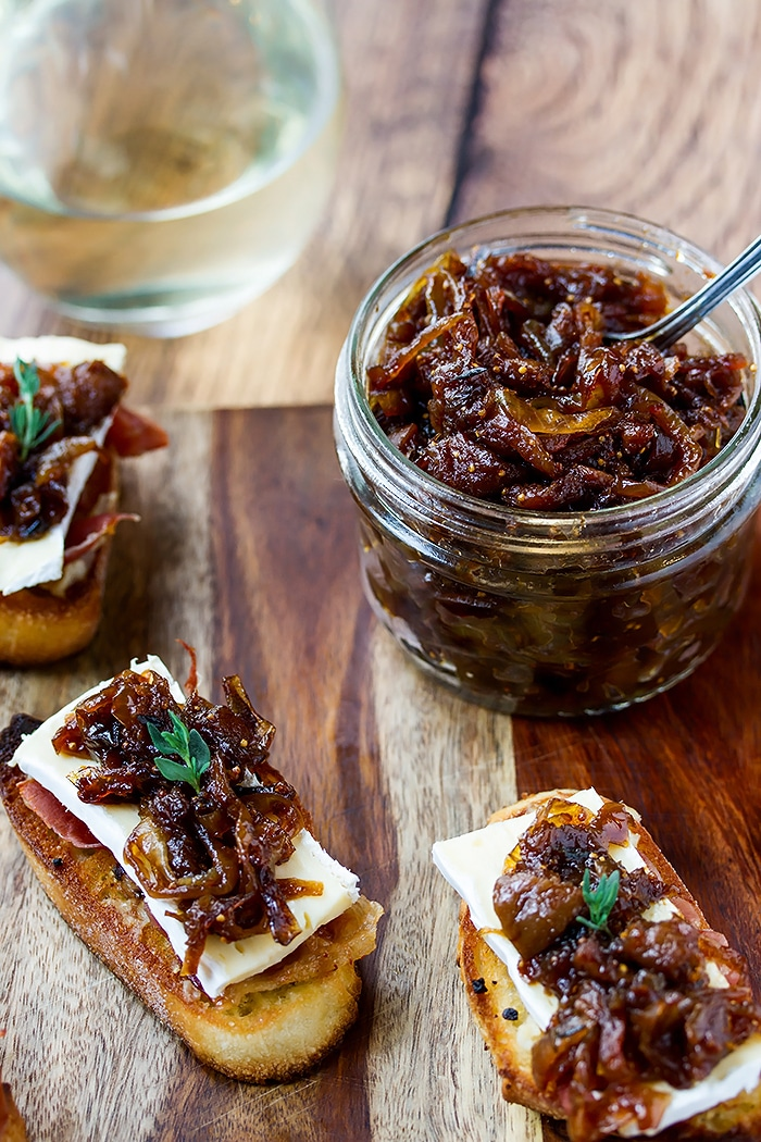 onion and fig jam in a mason jar