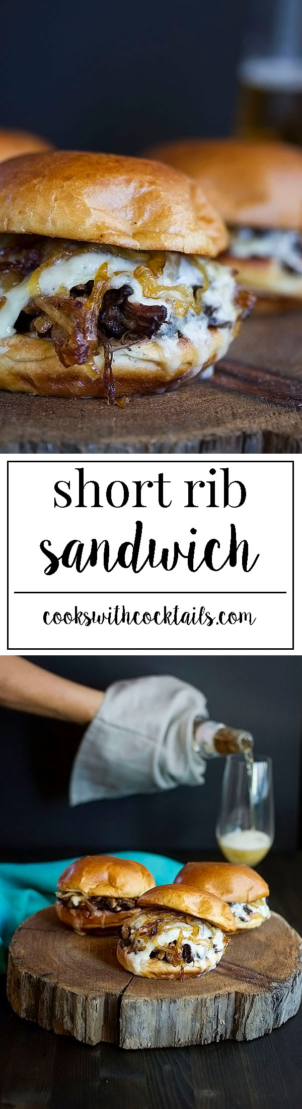 Boneless Short Rib Sandwich with Caramelized Onions and Brie