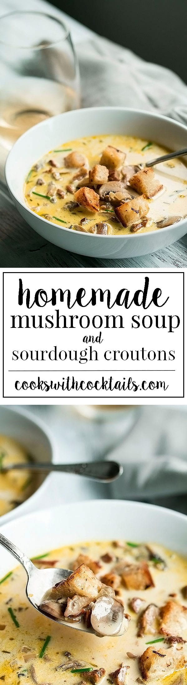Homemade Mushroom Soup with Truffled Sourdough Croutons