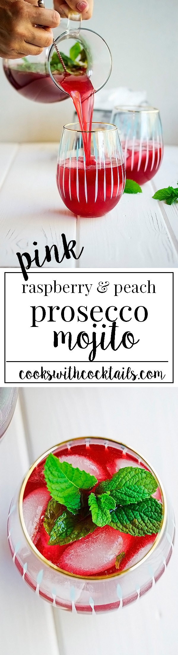 Pink Prosecco Mojito made with Raspberry and Peach Juice!