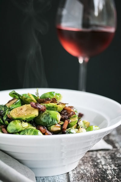 Pan Fried Brussels Sprouts with Bacon that Everyone will Actually Eat