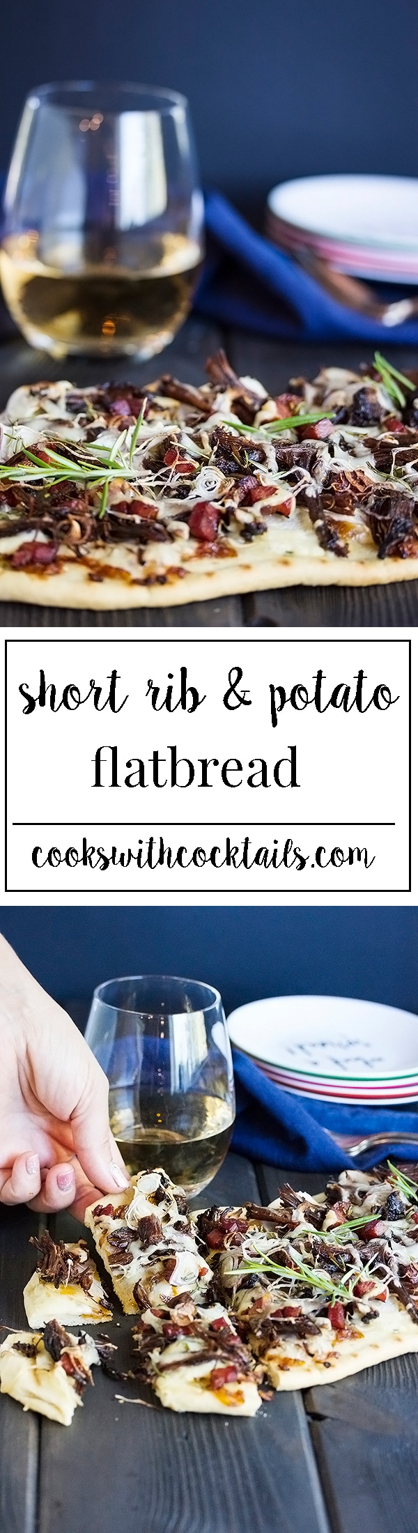 A short rib flatbread pizza made with incredibly tender instant pot short ribs, thinly sliced potato, bacon, shallots andgruyere cheese is a delicious way to use left over short ribs. Make this as an appetizer for game day or just a dinner for your family. #instantpotrecipe #shortrib #appetizerrecipe